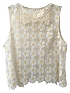 Free People Crop Mesh Sequin Daidy Top Ivory