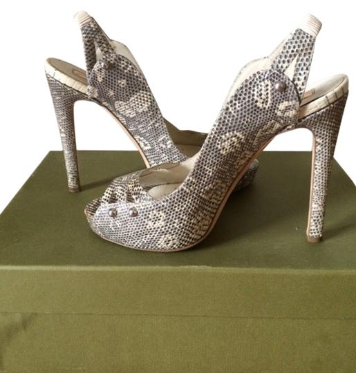 Rupert Sanderson Grey and white Lizard Leather Sandals