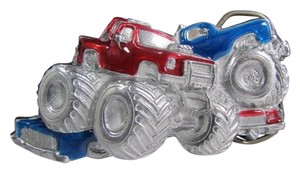 New Western Fashion Belt Buckle Silver Metal Red Blue Monster Trucks 3D