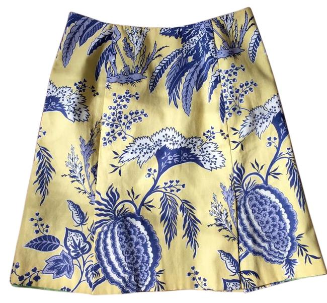 Item - Yellow and Blue Toile Preppy Skirt Size 6 (S, 28)