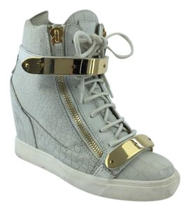 Giuseppe Zanotti Gold Hardware Crocodile Geniune White/Gold Wedges
