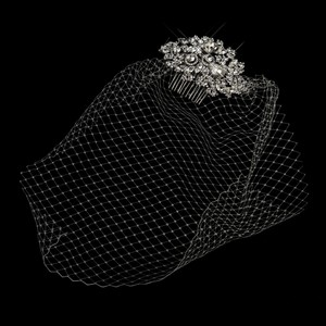 Wedding Bridal Vintage Multi Cut Crystal Comb With Birdcage Veil