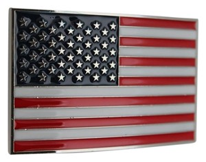 Men Women Belt Buckle Silver Metal United State America USA Flag Red Blue Beads