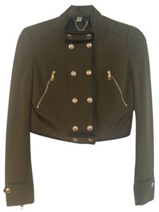 Burberry Army Military Leather Leather Trimmed Army Green Motorcycle Motorcycle Military Jacket