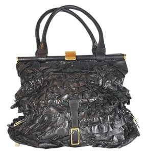 Valentino Dark Leather Ruffle Satchel in Brown