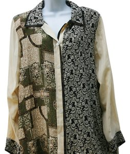 Koos Of Course Boho Silk Longsleeve Button Front Button Down Shirt Cream and Black