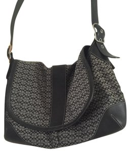 Coach Signature Black Grey Messenger Bag