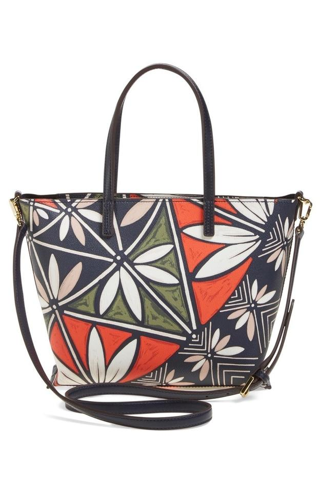 a3d938ee600 Tory Burch New Vintage Floral Flower Print Small Tote Multi-color Grainy  Vinyl Cross Body Bag - Tradesy