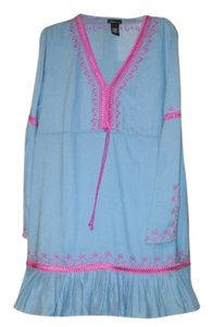 Moda International short dress azure blue with magenta detail Ribbonwork Bohemian Fun on Tradesy