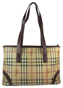 Burberry Khaki Haymarket Check Leather Shoulder Bag