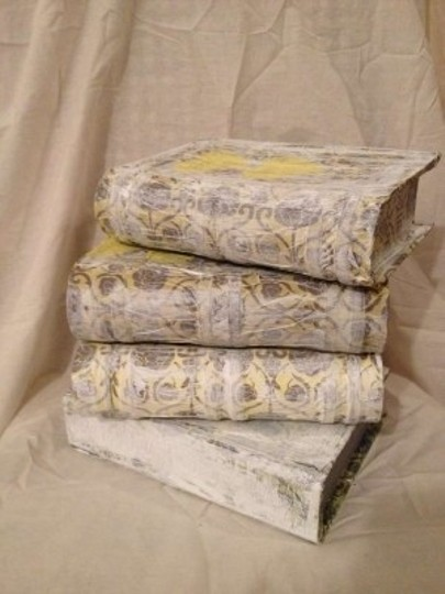 Gray Yellow White Set Of 4 Paper Mache Book Boxes Reception Decoration