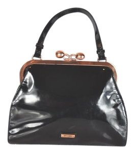 Moschino Patent Leather Structure Satchel in Black
