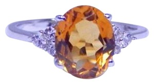 9.2.5 Elegant Oval Citrine Ring 4 CT Natural Precious Stone Sterling Silver