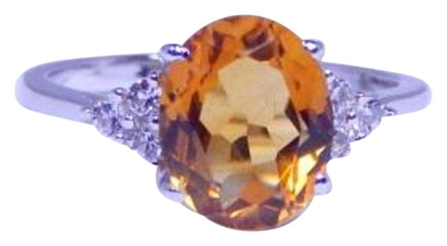 Item - Citrine (Yellow To Orange To Orangy Red) Elegant Oval 4 Ct Natural Precious Stone Sterling Silver Ring