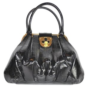 Alexander McQueen Crocodile Skin Patent Leather Satchel in Black