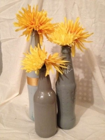 Gray Mixed Shape Painted Glass Bottles Reception Decoration