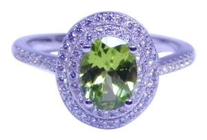 9.2.5 Attractive Oval Peridot Simulant Ring 4CT NaturalStone Sterling Silver