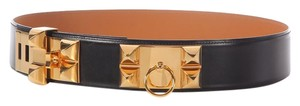Hermès Black Leather Collier de Chien Belt