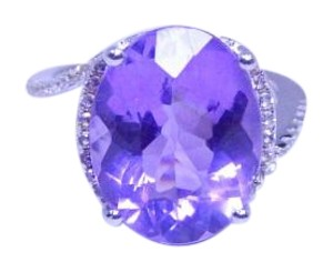 Appealing Oval shape Starburst cut Amethyst Ring 12 CT Natural Precious Stone in Classical Tension Setting Sterling Silver