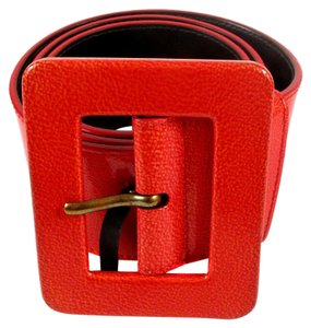 Saint Laurent YSL BELT - RED PATENT LEATHER SQUARE BUCKLE GOLD YVES SAINT LAURENT