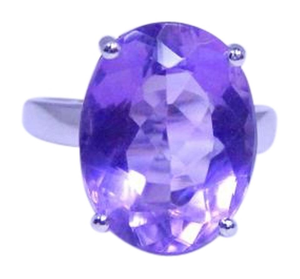 Amethyst Well-formed Oval Shape Starburst Cut 12 Ct Natural Precious Stone  Sterling Silver Ring 84% off retail