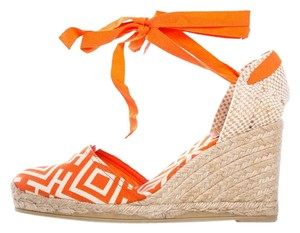 Tory Burch Orange, White, & Tan Wedges