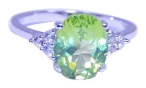 Other Stunning Oval Starburst cut Peridot Ring 4 CT Natural Sterling Silver