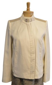 Helmut Lang White & Beige Leather Jacket