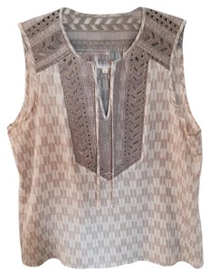 Parker Embroidered Silk Top Creme and Tan
