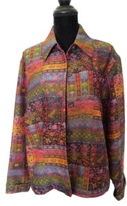 Coldwater Creek multi colored tapestry patched work Blazer