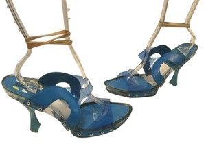XOXO See Through Blue leather clear vinyl Mules