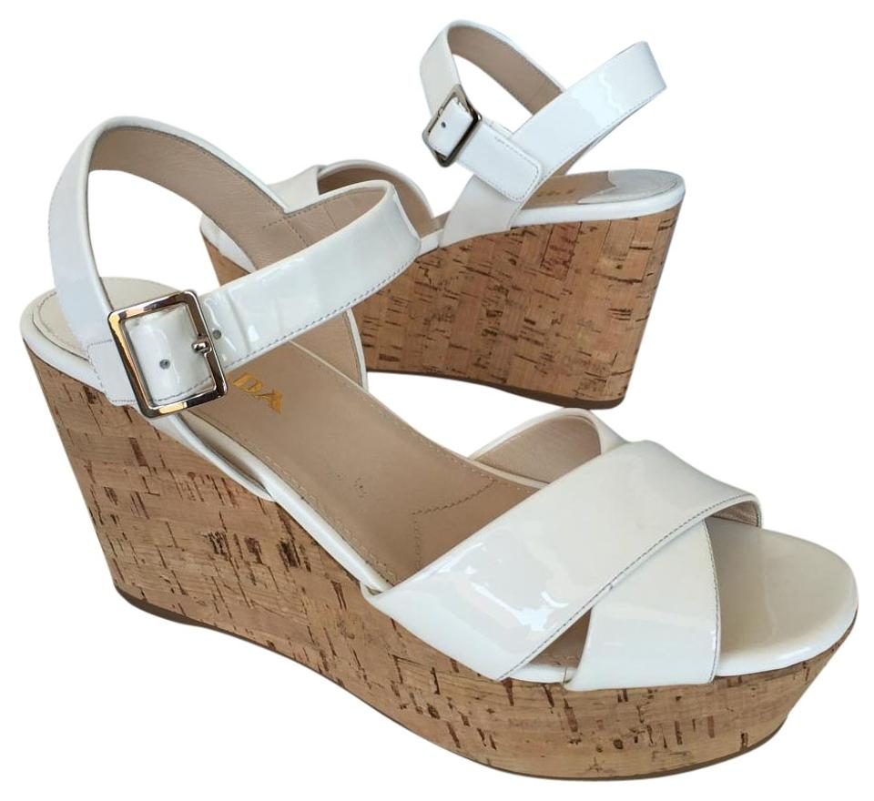 ca00116a487c Prada White Donna Patent Cork Sling Wedge Sandals Size US 8.5 ...