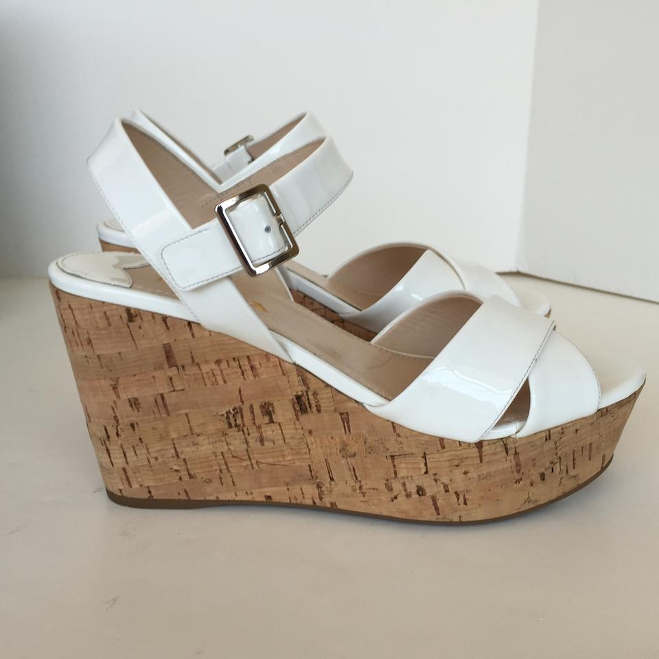 fc1e4a7b7155 Prada White Donna Patent Cork Sling Wedge Sandals Size US 8.5 Regular (M