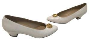 Salvatore Ferragamo Gold Metal Emblem White all leather Italian Pumps