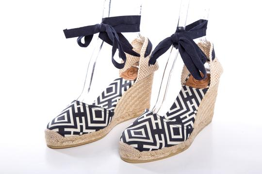 Tory Burch Navy, White, & Tan Wedges