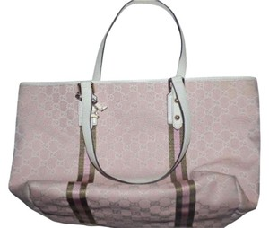 Gucci Extra Large Size Satchel Or Multi-compartment Large G Logo Tote in Pink and white with ivy green