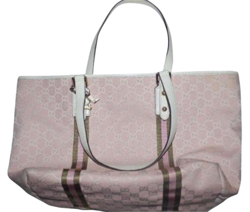 64e3223d9e40f2 Gucci Multi-compartment Xl Satchel/Tote Pink/White W/ Wallet Available From  ...
