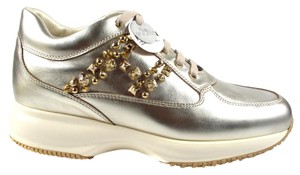 Hogan New Studded Metallic Lace Up Silver Athletic