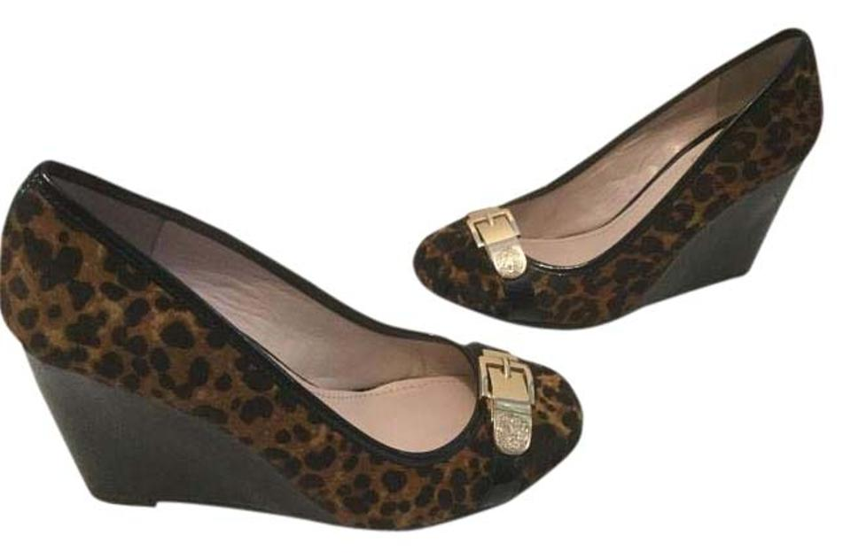 Vince Camuto Black Hair and Brown Dyed Pony Hair Black Leopard Morina Wedges 5ac4b3