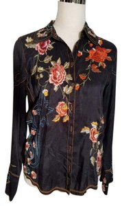 Johnny Was Embroidered Vintage Country Top Black Multi