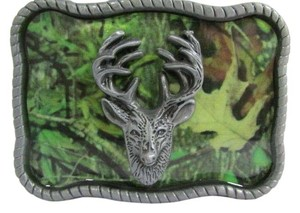 Other New Belt Buckle Hunter Big Deer Head Silver Metal Western Standout Camouflage Print