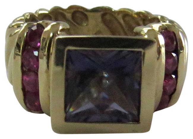 Item - Gold/Purple/Red 14k Yellow 8mm Iolite and Ruby Cable Shank Ring