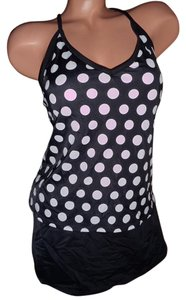 Jantzen JAntzen skirt tankini swimsuit bikini polka dot cross back 8 padded