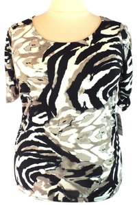 Alfani Plus Size Fashions Ruched Sleeves Animal Print Top
