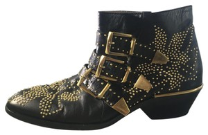 Chlo Studded Leather Chloe Gold Black Boots