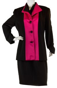 Badgley Mischka Badgley Mischka Black & Pink Polyester Skirt Suit, Size 14 (28289)