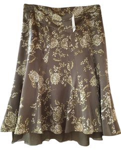 Banana Republic A-line Midi Silk Flowy Skirt Taupe and Cream Floral
