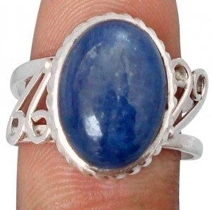7.08cts Blue Kyanite Oval Sterling Silver Solitaire Artisan Ring S/7