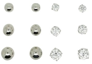 True Religion TRUE(tm) ROUND 4-5-6MM DIAMOND SIMULANTS 3.70CTTW SIZE RHODIUM PLATED STERLING SILVER BALL 5-6-7MM STUD EARRINGS