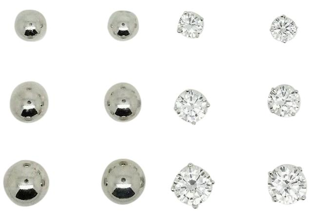 Item - White Sterling Silver True(Tm) Round 4-5-6mm Diamond Simulants 3.70cttw Size Rhodium Plated Ball 5-6-7mm Stud Earrings